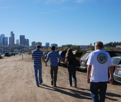 Walking to the craft sale with L.A. skyline in the background