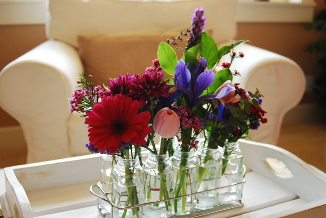 2010.Flowers in Spice jars