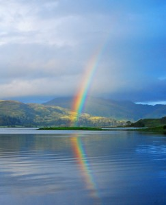 Glencoe rainbow with reflection