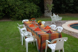 Thanksgiving Table in the back yard