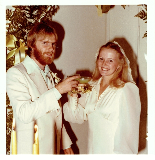 Bride and Groom Toasting at 1977 Wedding
